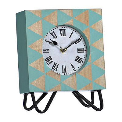 Jamie Blue Wooden Tabletop Clock