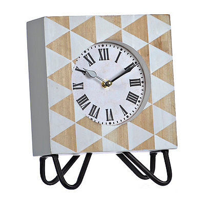 Jamie White Wooden Tabletop Clock