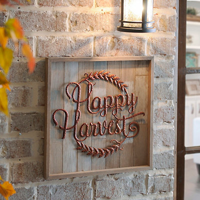 Copper Happy Harvest Wooden Plaque