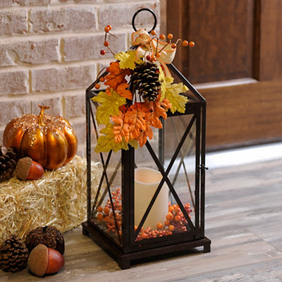 Autumn Floral LED Lantern