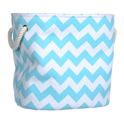 Large Blue Chevron Storage Bin