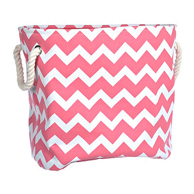 Large Pink Chevron Storage Bin