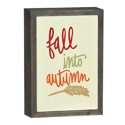 Fall Into Autumn Barnwood Box Sign