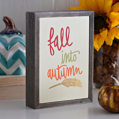 Fall Into Autumn Barnwood Box Sign