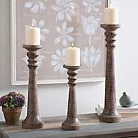 Brown Column Candlesticks, Set of 3