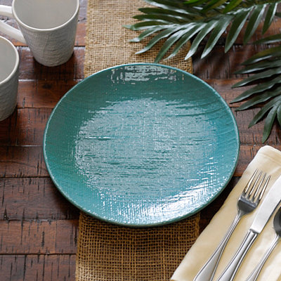 Turquoise Burlap Pattern Dinner Plate