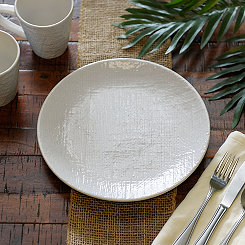 White Burlap Pattern Dinner Plate