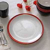 Red and White Parker Dinner Plate