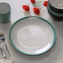 Turquoise and White Parker Dinner Plate