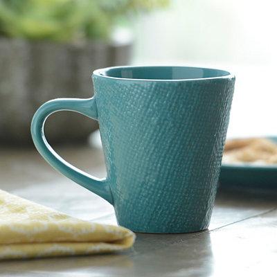 Turquoise Burlap Pattern Mug