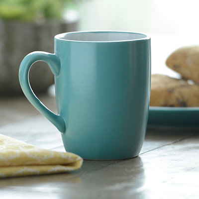 Turquoise and White Parker Mug