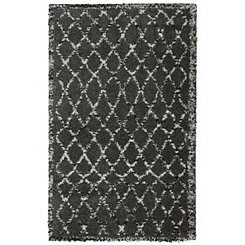 Gray Black Fresno Shag Area Rug, 5x7