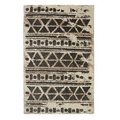 Cocoa Urban Grid Shag Area Rug, 5x8