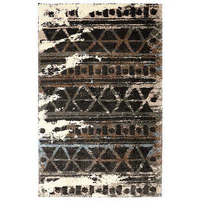 Ivory Urban Grid Shag Area Rug, 5x8