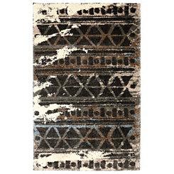 Ivory Urban Grid Shag Area Rug, 8x10