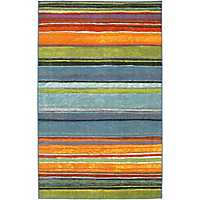 Rainbow Nylon Print Area Rug, 5x8
