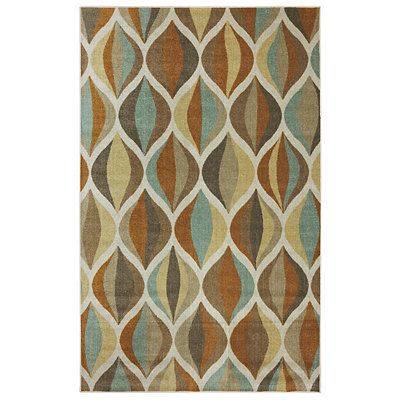 Ornamental Ogee Nylon Print Area Rug, 5x8
