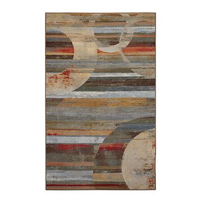 Integrated Geometric Nylon Print Area Rug, 5x8