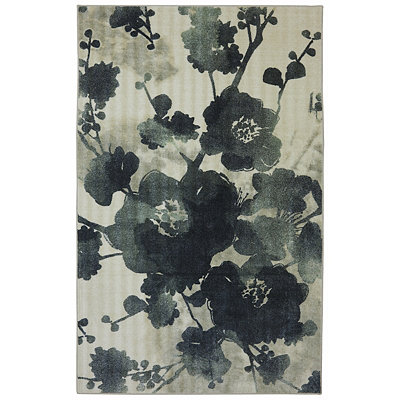 Stream of Blues Nylon Print Area Rug, 5x7