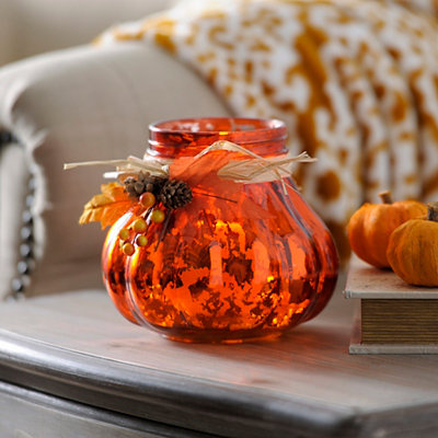 Orange Mercury Glass Candle Holder