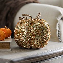 Beaded Gold Mini Pumpkin