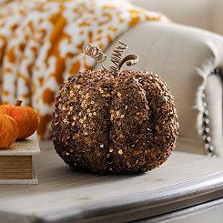 Beaded Bronze Mini Pumpkin