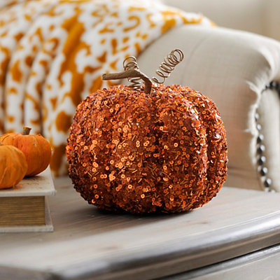 Beaded Orange Mini Pumpkin