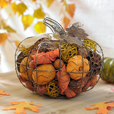 Wire Pumpkin with Pumpkin Spice Filler