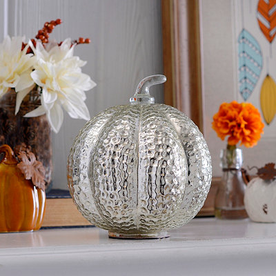 Silver Glass Dimpled Pumpkin
