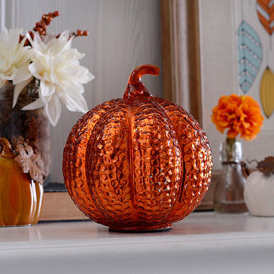 Orange Glass Dimpled Pumpkin