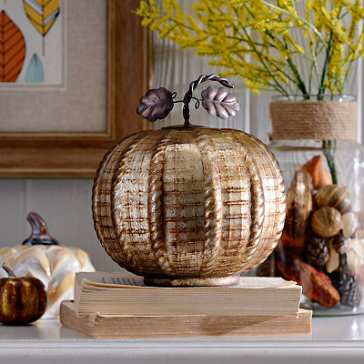 Washed Bronze Glass Pumpkin