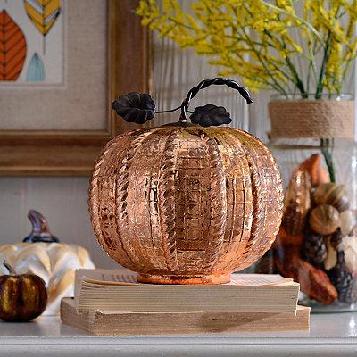Glossy Bronze Glass Pumpkin