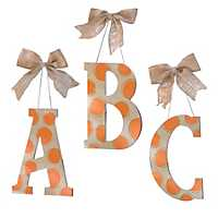 Orange & White Polka Dot Monogram Wooden Plaques