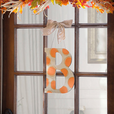 Orange & White Polka Dot Monogram B Wooden Plaque