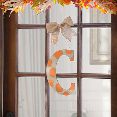 Orange & White Polka Dot Monogram C Wooden Plaque
