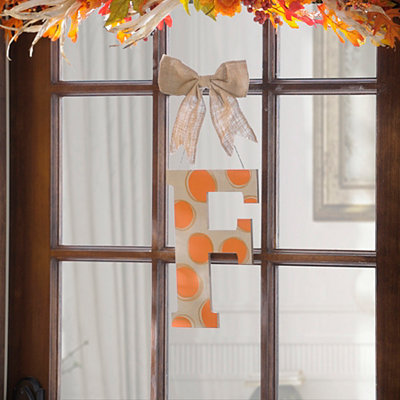 Orange & White Polka Dot Monogram F Wooden Plaque