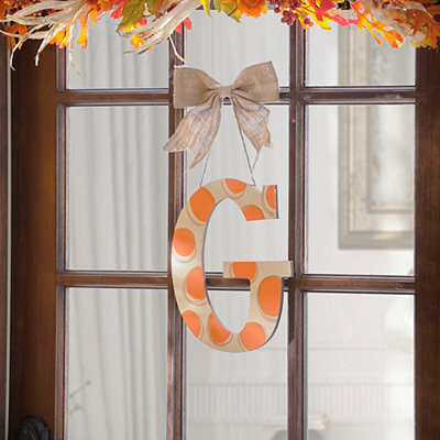 Orange & White Polka Dot Monogram G Wooden Plaque