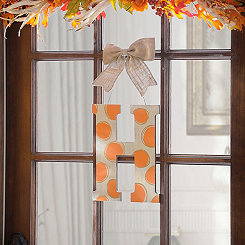 Orange & White Polka Dot Monogram H Wooden Plaque