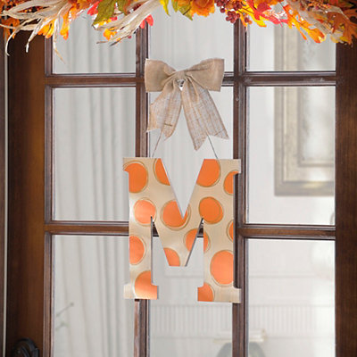 Orange & White Polka Dot Monogram M Wooden Plaque