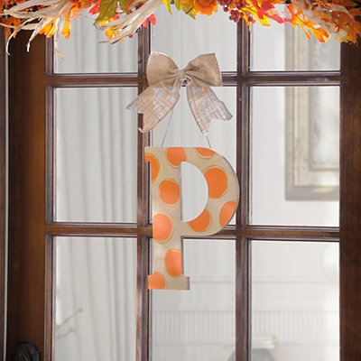 Orange & White Polka Dot Monogram P Wooden Plaque
