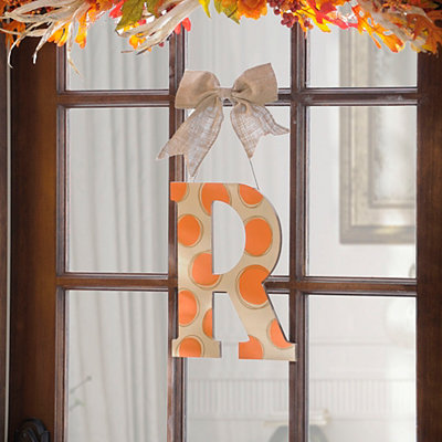 Orange & White Polka Dot Monogram R Wooden Plaque