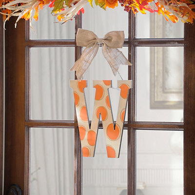 Orange & White Polka Dot Monogram W Wooden Plaque