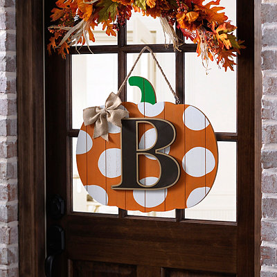 Polka Dot Monogram B Pumpkin Wooden Plaque