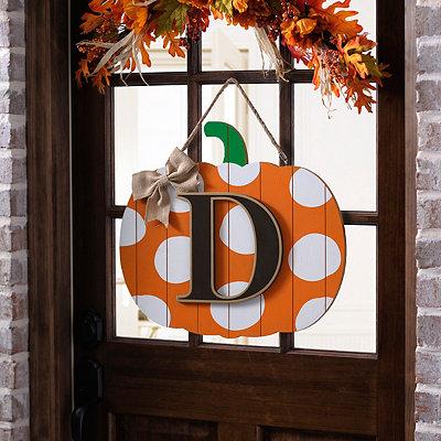 Polka Dot Monogram D Pumpkin Wooden Plaque