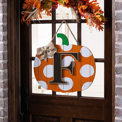 Polka Dot Monogram F Pumpkin Wooden Plaque