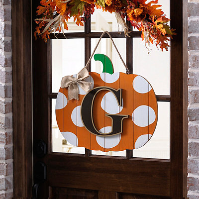 Polka Dot Monogram G Pumpkin Wooden Plaque