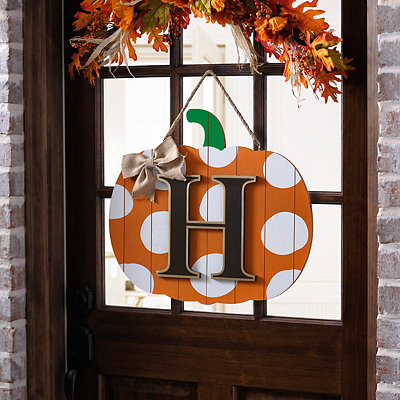 Polka Dot Monogram H Pumpkin Wooden Plaque