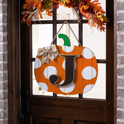 Polka Dot Monogram J Pumpkin Wooden Plaque