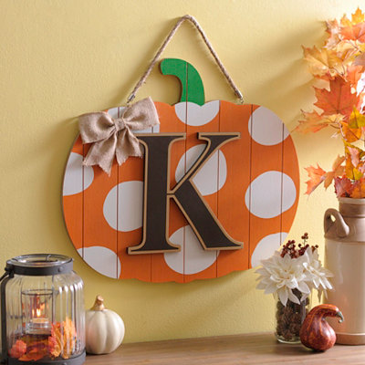 Polka Dot Monogram K Pumpkin Wooden Plaque