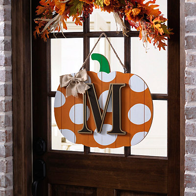 Polka Dot Monogram M Pumpkin Wooden Plaque